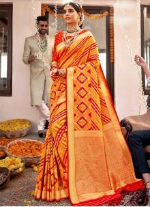 Banarasi Silk Orange Weaving Designer Traditional Saree