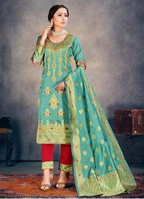 Banarasi Silk Pant Style Suit in Sea Green