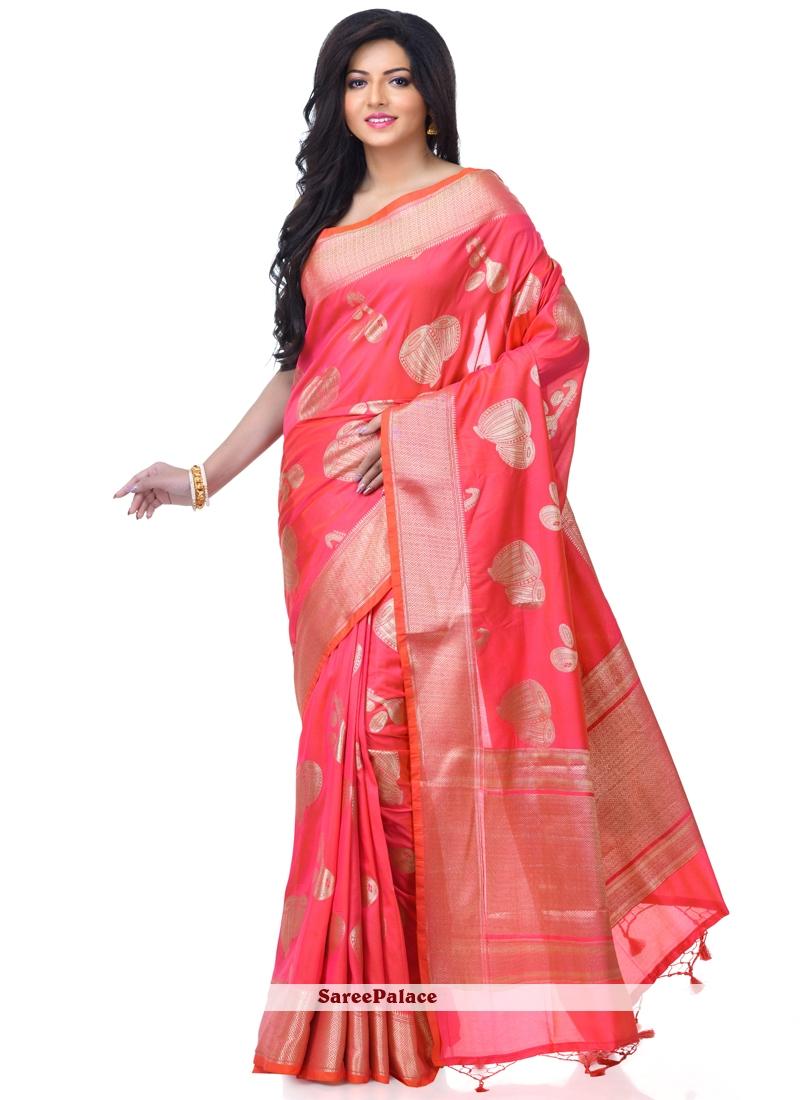 Rani Pink Banarasi Silk Party Classic Designer Saree