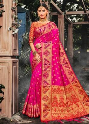 Banarasi Silk Party Pink Classic Saree