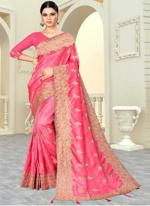 Banarasi Silk Patch Border Designer Saree in Hot Pink