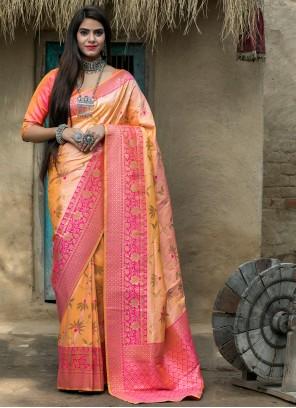 Banarasi Silk Peach and Pink Designer Traditional Saree