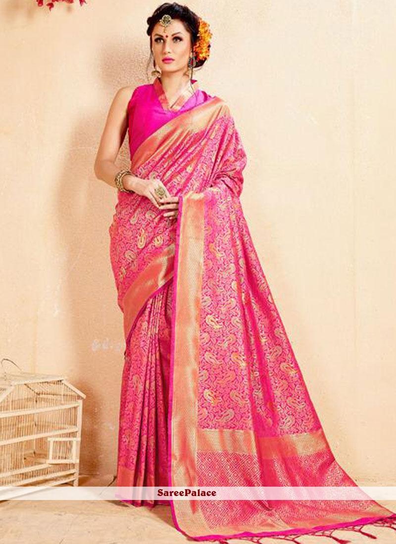 Banarasi Silk Pink Abstract Print Designer Saree