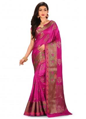 Banarasi Silk Pink Contemporary Saree