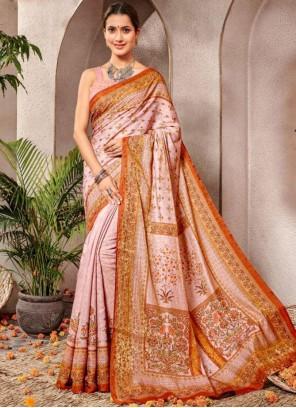 Banarasi Silk Pink Digital Print Silk Saree