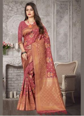 Banarasi Silk Pink Weaving Contemporary Saree