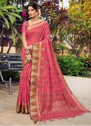 Banarasi Silk Pink Weaving Designer Traditional Saree