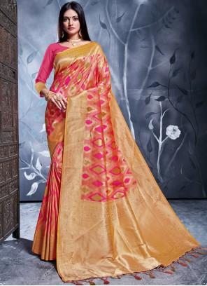 Banarasi Silk Pink Weaving Traditional Saree
