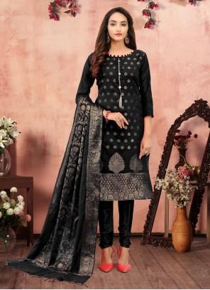 Banarasi Silk Printed Black Churidar Designer Suit