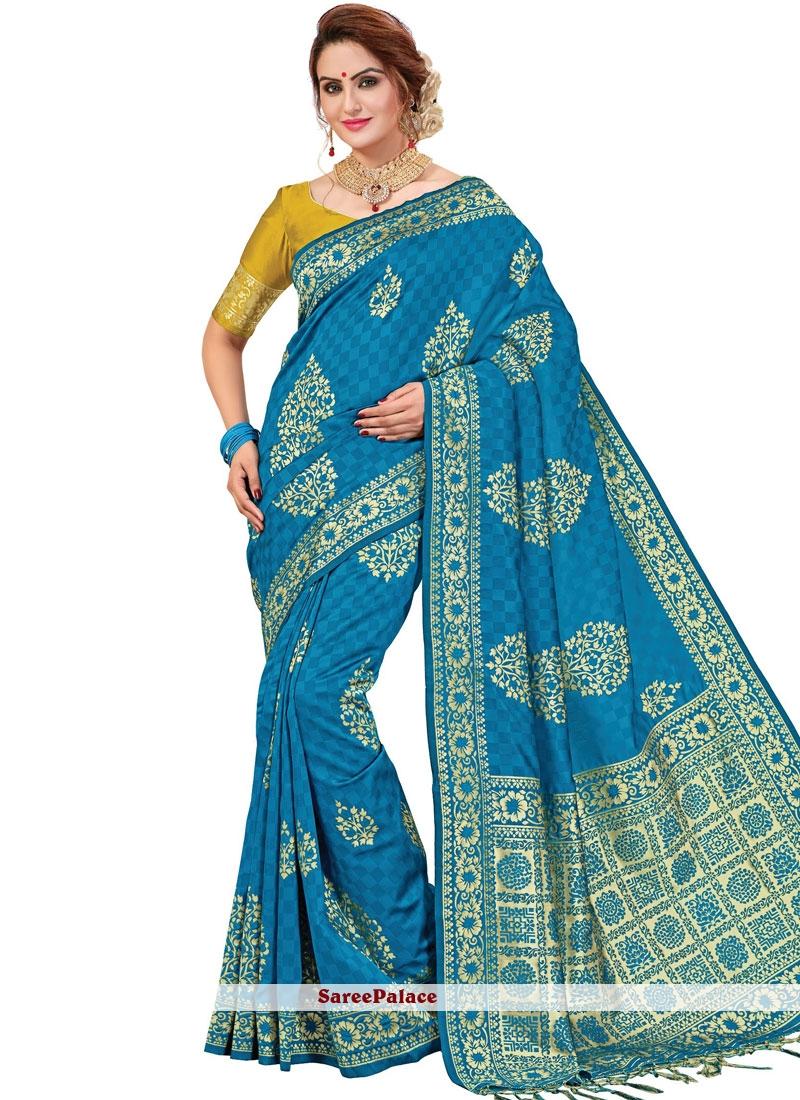 Banarasi Silk Printed Blue Trendy Saree
