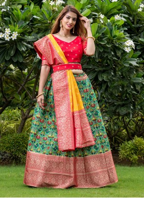 Banarasi Silk Printed Green A Line Lehenga Choli