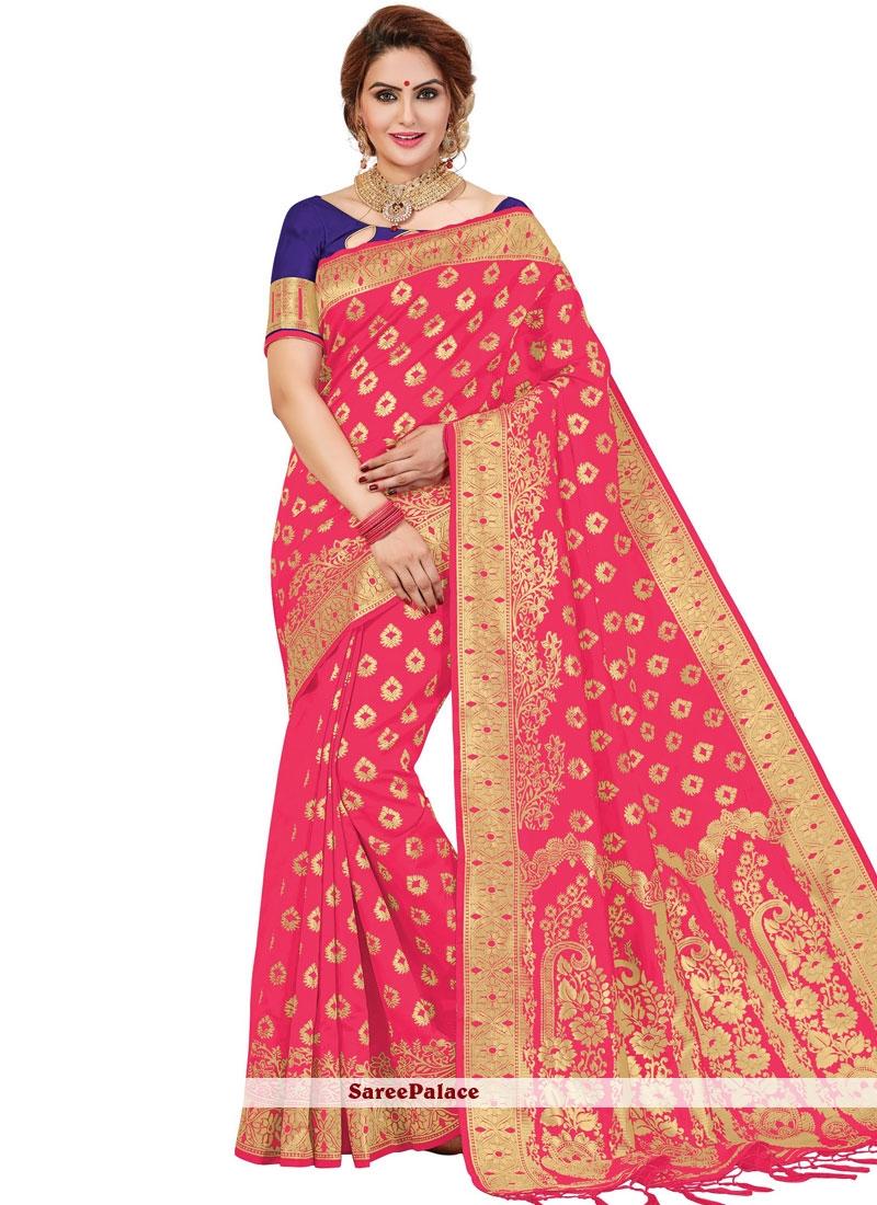 Banarasi Silk Printed Rose Pink Trendy Saree