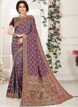 Banarasi Silk Purple Embroidered Classic Designer Saree