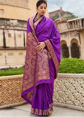 Banarasi Silk Purple Weaving Classic Saree