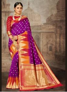 Banarasi Silk Purple Weaving Designer Saree