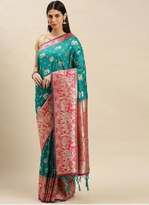 Banarasi Silk Rama Traditional Designer Saree
