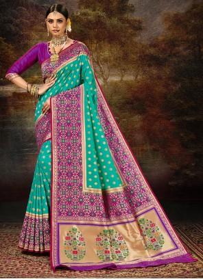 Banarasi Silk Rama Weaving Saree