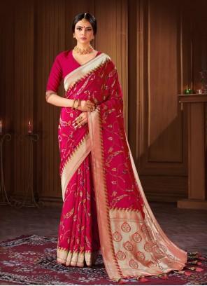 Banarasi Silk Rani Traditional Designer Saree
