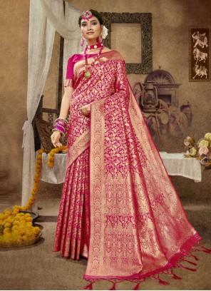 Banarasi Silk Rani Weaving Designer Traditional Saree
