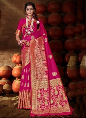 Banarasi Silk Rani Weaving Traditional Designer Saree