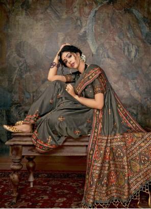 Grey Banarasi Silk Reception Classic Saree