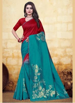 Banarasi Silk Red and Turquoise Half N Half Trendy Saree