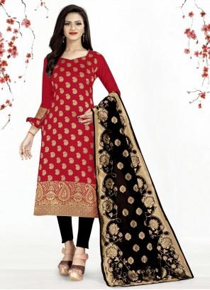 Banarasi Silk Red Churidar Designer Suit