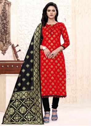 Banarasi Silk Red Weaving Churidar Suit