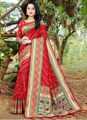 Banarasi Silk Red Weaving Designer Traditional Saree