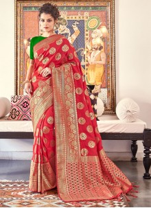 Banarasi Silk Red Weaving Traditional Saree