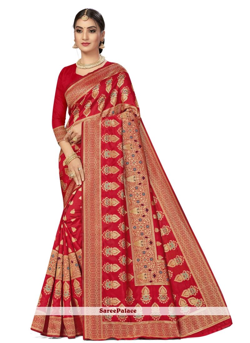 Banarasi Silk Red Weaving Traditional Saree