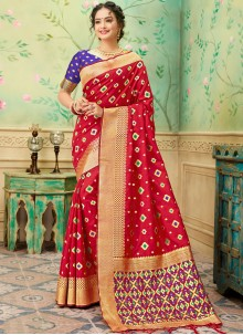 Banarasi Silk Red Weaving Trendy Saree