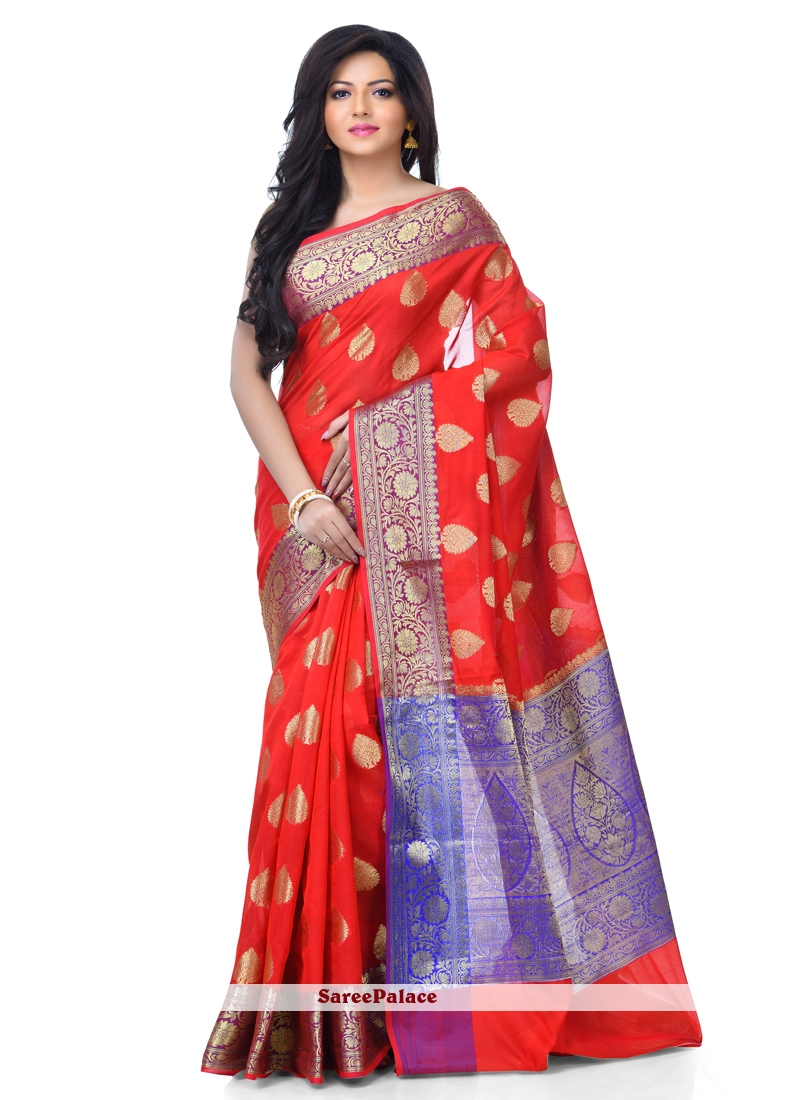 Banarasi Silk Red Zari Classic Designer Saree