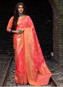 Banarasi Silk Rose Pink Weaving Designer Traditional Saree