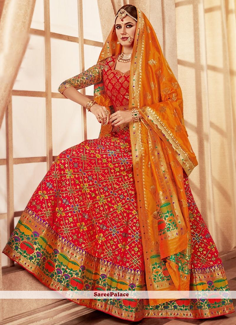 Banarasi Silk Rose Pink Weaving Lehenga Choli