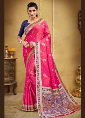 Banarasi Silk Rose Pink Weaving Traditional Saree