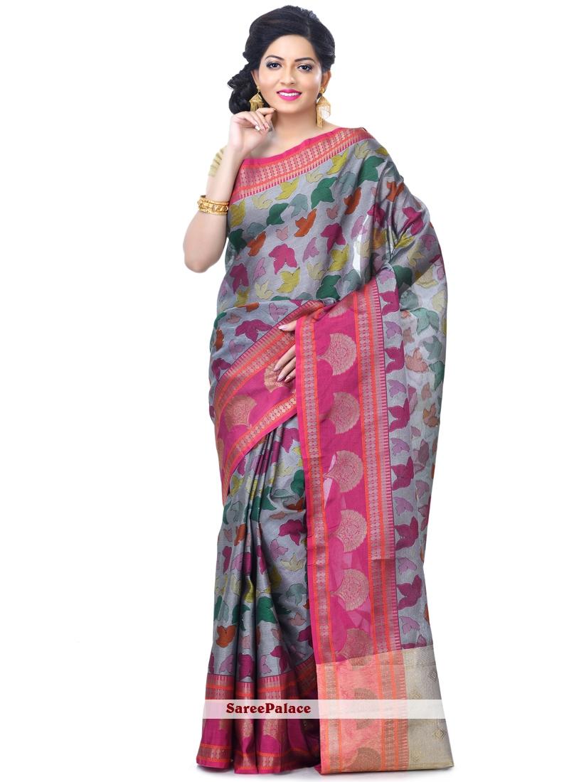 Grey Banarasi Silk Sangeet Designer Saree
