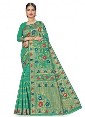 Banarasi Silk Sea Green Weaving Designer Traditional Saree
