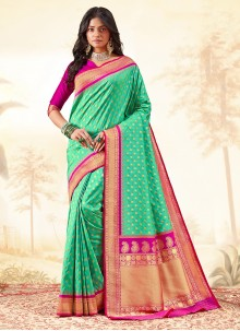 Banarasi Silk Sea Green Weaving Traditional Saree