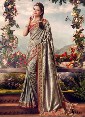Banarasi Silk Silver Embroidered Classic Saree