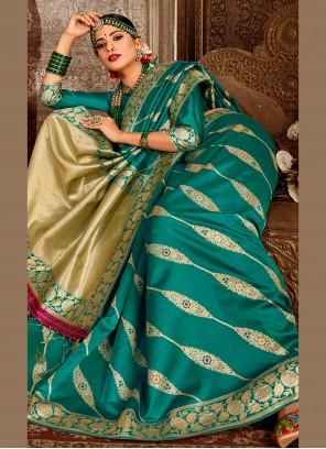 Banarasi Silk Teal Designer Traditional Saree