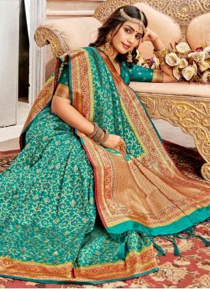 Banarasi Silk Teal Traditional Saree