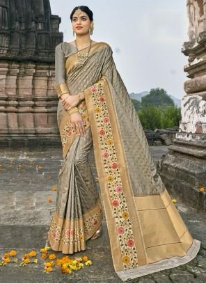Grey Banarasi Silk Traditional Designer Saree