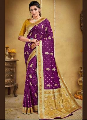 Purple Banarasi Silk Traditional Designer Saree