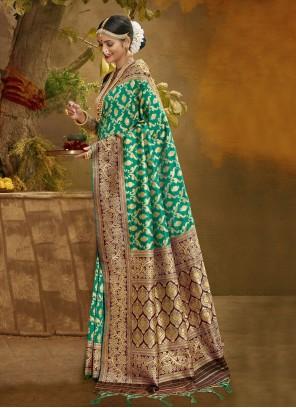 Banarasi Silk Traditional Designer Saree in Green