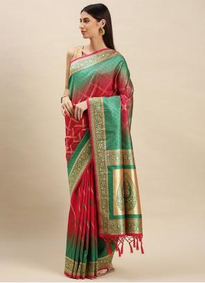 Banarasi Silk Traditional Designer Saree in Pink and Sea Green
