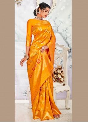 Banarasi Silk Yellow Traditional Saree