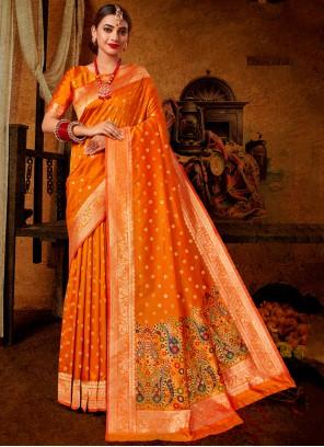 Banarasi Silk Orange Traditional Saree