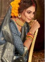 Banarasi Silk Traditional Saree in Grey