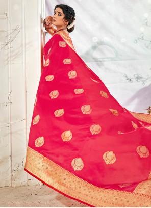Banarasi Silk Traditional Saree in Hot Pink